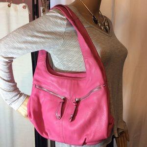Tignanello bright pink leather hobo,